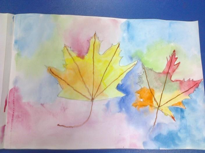 Дитячий малюнок про осінь фото